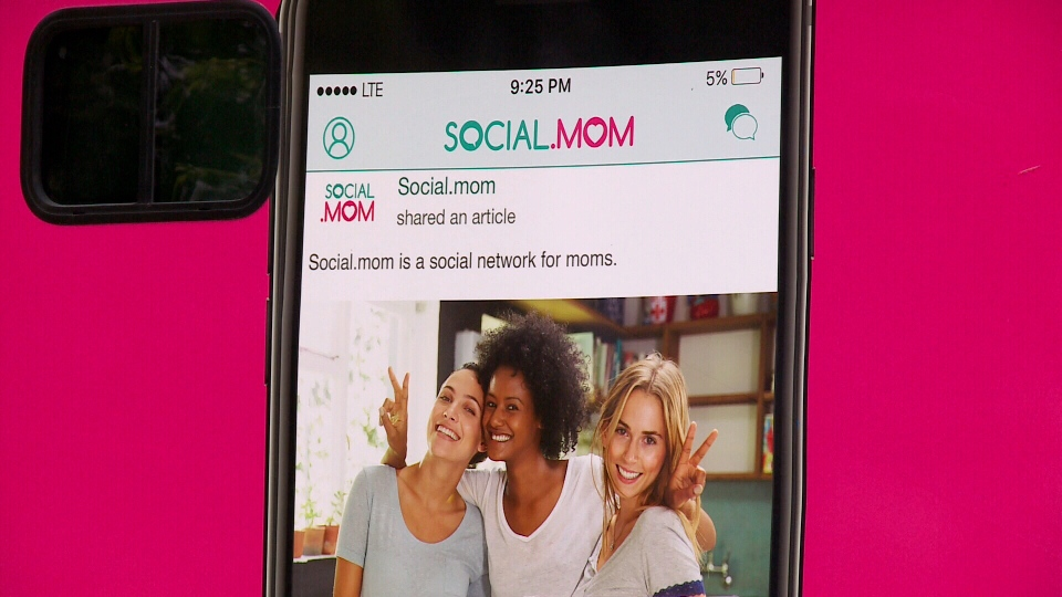 The founder of Social.mom, an app that connects mothers, is touring Canada in an RV to promote the app. (supplied)