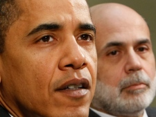 President Barack Obama, accompanied by Federal Reserve Chairman Ben Bernanke, makes remarks in the Roosevelt Room of the White House in Washington, Friday, April 10, 2009. (AP / Gerald Herbert)