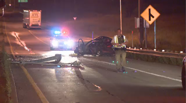 Investigators from the Surete du Quebec are still trying to locate the tractor-trailer that hit a car from behind, causing it to spin off the road and hit a lamppost. (CTV Montreal)