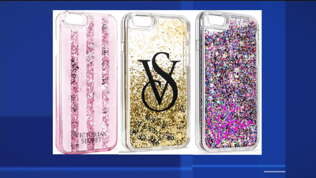 cc611177609c8 Victoria s Secret glitter-filled phone cases recalled due to chemical burn. Iphone  recall