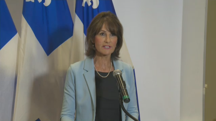 Immigration and Diversity Minister Kathleen Weil addresses the media in a press conference regarding an influx of asylum-seekers crossing into Quebec (CTV Montreal)
