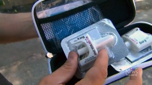 Opioid antidote nasal spray, Narcan, is seen here in this photo.