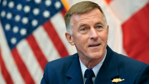 In this file photo, Adm. Paul Zukunft, the U.S. Coast Guard commandant, speaks to the media during a summit of coast guard leaders from arctic nations at the U.S. Coast Guard Academy, Friday, Oct. 30, 2015, in New London, Conn. (AP Photo/Jessica Hill)