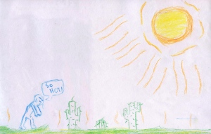Weather art by Jan, age 10, from Berkshire Park Elementary School.