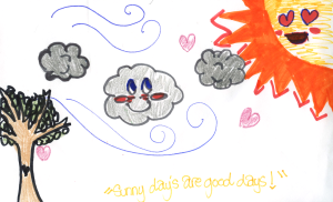 Weather art by Andrea, age 12.