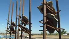 Bowfort Towers - art installation near WinSport
