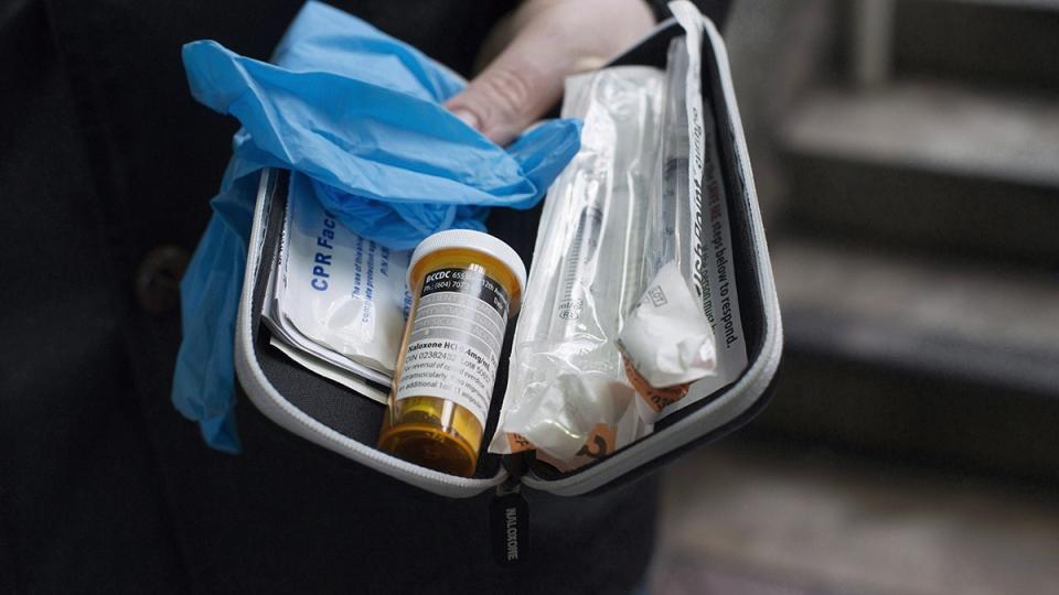 A naloxone anti-overdose kit