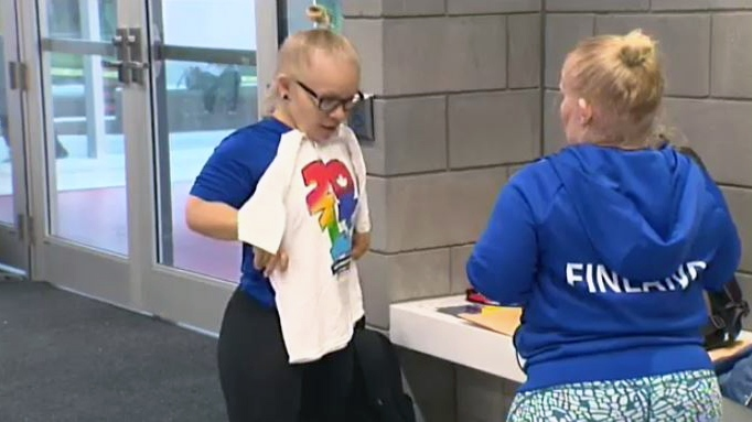 Members of Finland's team at the World Dwarf Games arrived at the University of Guelph on Friday, Aug. 4, 2017.