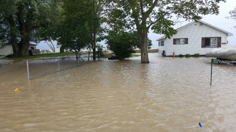 Homes along Erie Shore Drive in Chatham Kent are under water as a flood warning remains in effect for the region. ( Photo Courtesy of Jason Homewood)