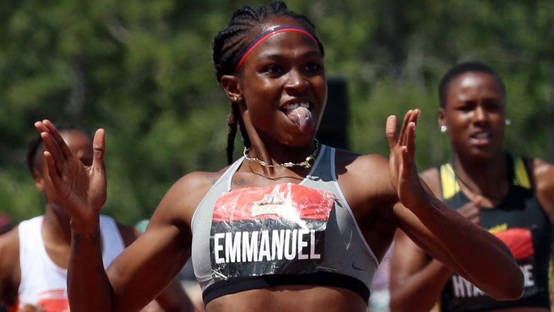 Crystal Emmanuel of Toronto celebrates as she wins gold in women's 200-metre race at the Canadian Track and Field Championships in Ottawa, Sunday July 9, 2017. (THE CANADIAN PRESS/Fred Chartrand)