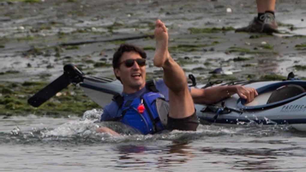 Trudeau falls in ocean