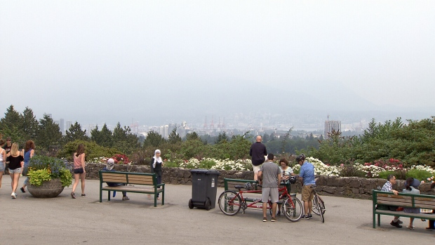 Visitors to Queen Elizabeth Park in Vancouver are usually treated to a view of downtown and the North Shore mountains. Wildfire smoke blanketing the city on Aug. 5, 2017 has obscured that view. (CTV)