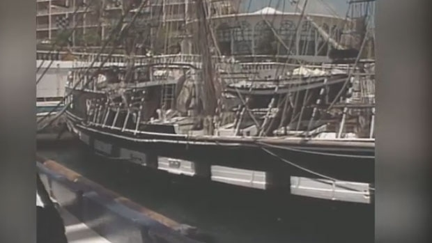 Perry found video of the three-mast tall ship, taken just before it left Bermuda and headed for Halifax.
