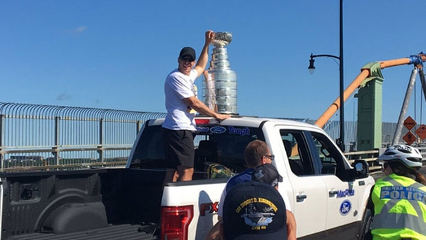 Pictured: Three-time Stanley Cup champ and future Hall of Famer Sidney Crosby took part in Halifax's Natal Day Parade in Nova Scotia.