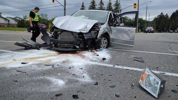 It happened in the intersection of Laurelwood Drive and Bearinger Road around 11 a.m. (Source: Johnny Mazza/ CTV Kitchener)