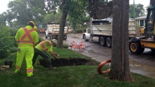 City crews fix a water main break in Regina.