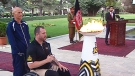 Canadian veteran Jody Mitic at the flame lighting ceremony in Kabul.