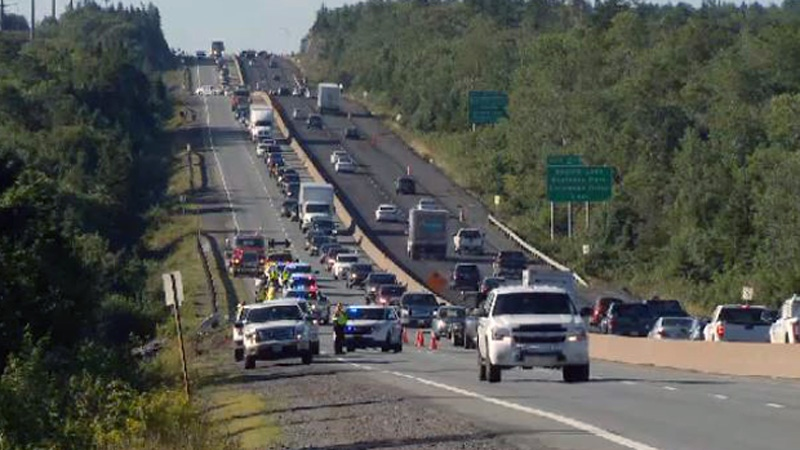 Two separate collisions on Highway 102 in Halifax tied up traffic Wednesday morning.
