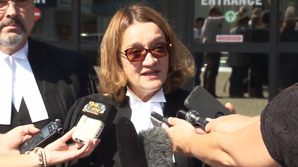 Crown prosecutor Photini Papadatou speaks to the media after Derek Saretzky was sentenced to life in prison with no parole for 75 years.
