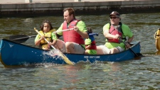 Hrnchiar, Veldon Coburn and two girls in canoe.