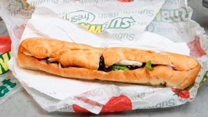 This photo taken Aug. 11, 2009 shows a chicken breast sandwich from a Subway restaurant in New York. (Seth Wenig/AP Photo)
