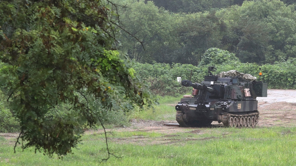 U.S. Army's Paladin self-propelled howitzer is seen near the border in Paju, South Korea, Thursday, Aug. 10, 2017. (Im Byung-shik/Yonhap via AP)