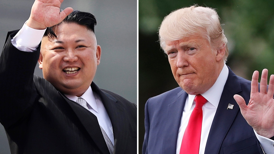 This combination of photos show North Korean leader Kim Jong Un on April 15, 2017, in Pyongyang, North Korea, left, and U.S. President Donald Trump in Washington on April 29, 2017. (AP Photo/Wong Maye-E, Pablo Martinez Monsivais, Files)