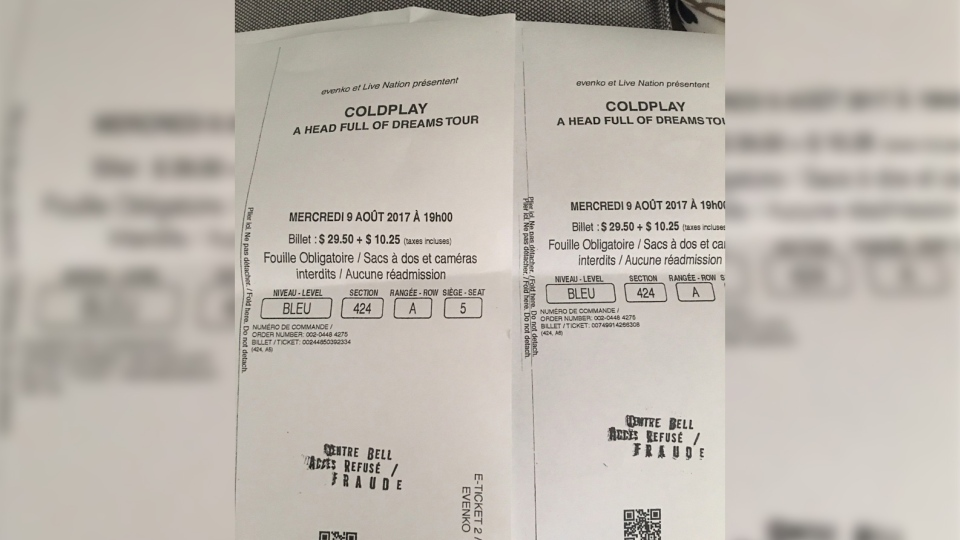 Two fake tickets to a Coldplay concert are shown in Montreal on Thursday, August 10, 2017 in this handout photo. (THE CANADIAN PRESS/HO - Eva Romano)