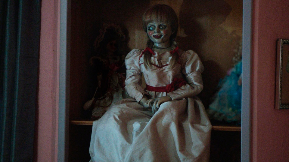 "This photo released by Warner Bros. Pictures shows the Annabelle doll in a scene from New Line Cinema's supernatural thriller, ""Annabelle,"" a Warner Bros. Pictures release.  (AP Photo/Warner Bros. Pictures)"