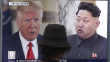 Donald Trump and Kim Jong Un on TV
