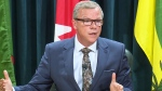 Saskatchewan Premier Brad Wall speaks to the media after announcing that he will be resigning.