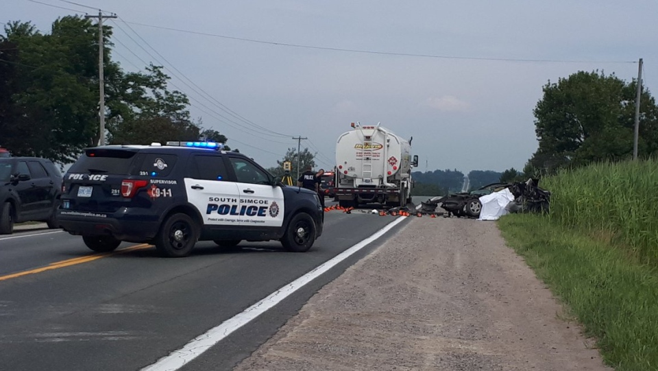 A man has died after a collision on Yonge Street in Innisfil, Ont on Aug 10, 2017 (CTV Barrie Mike Arsalides)