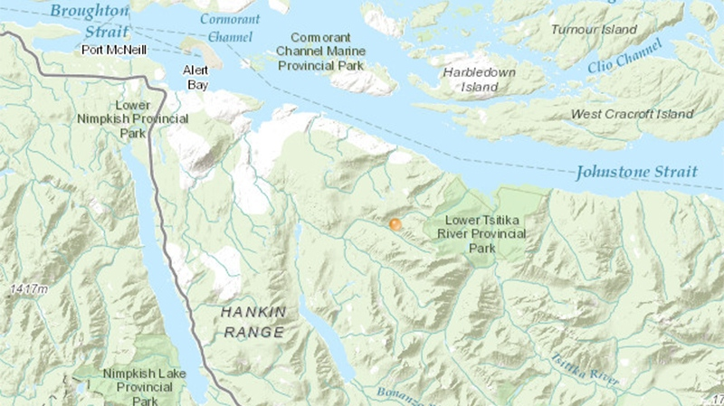 A fire at Kaikash Creek, roughly 35 kilometres southeast of Port McNeill, was discovered on Tuesday and has since grown to 80 hectares in size. Aug. 10, 2017. (BC Wildfire Service)