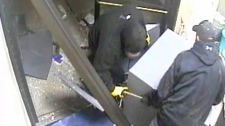 Surveillance footage shows two people removing an ATM from the RBC branch in Scotland, outside Brantford.