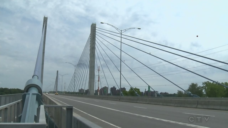 The Olivier Charbonneau Bridge connects Laval and Montreal via Highway 25