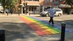 Rainbow crosswalk in Red Deer