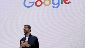 In this file photo dated May 17, 2017, Google CEO Sundar Pichai delivers the keynote address for the Google I/O conference in Mountain View, Calif. (AP / Eric Risberg)