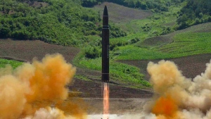 This file photo distributed by the North Korean government shows what was said to be the launch of a Hwasong-14 intercontinental ballistic missile, ICBM, in North Korea's northwest, Tuesday, July 4, 2017. (Korean Central News Agency / Korea News Service via AP, File)