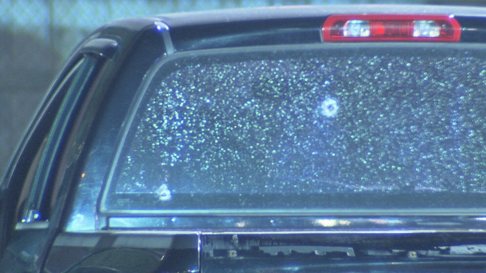 This image shows shattered glass of a vehicle after a shooting in Surrey on Tuesday Aug. 5, 2017. (CTV)