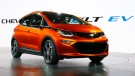 The Chevrolet Bolt EV debuts at the North American International Auto Show in Detroit on Jan. 11, 2016. (AP Photo/Paul Sancya, File)