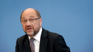 Martin Schulz, chairman of the German Social Democratic Party (SPD) and Chancellor candidate for the upcoming general elections, addresses the media during a party's press conference in Berlin, Germany, Tuesday, June 27, 2017. (AP Photo/Michael Sohn)