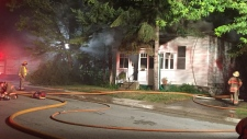 A home on Albert Street South in Orillia, Ont was destroyed by an overnight fire on Aug 11, 2017 (Courtesy Darien Ross)