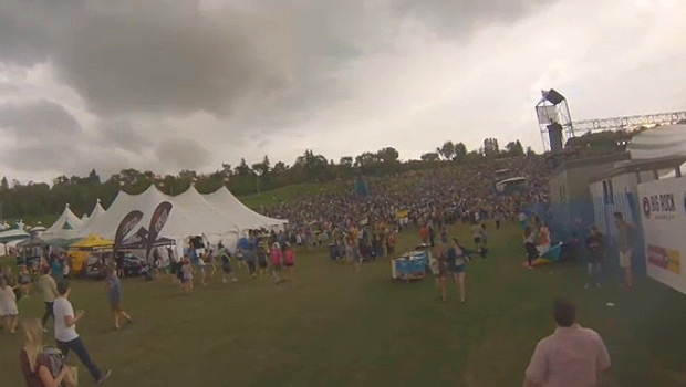 Fans at Gallagher Park for the first night of the Edmonton Folk Music Festival were told to evacuate the site at about 8:30 p.m. Thursday, after high winds and over concerns a stronger storm could hit.