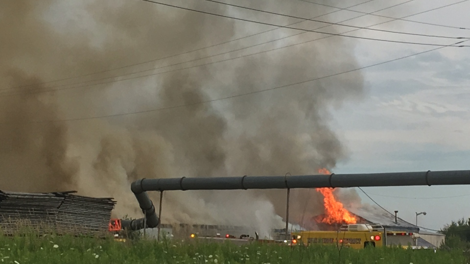 A fire that broke out on Aug 10, 2017 has destroyed a wood-processing plant in Shelburne, Ont. (Courtesy Shelburne Police Services)