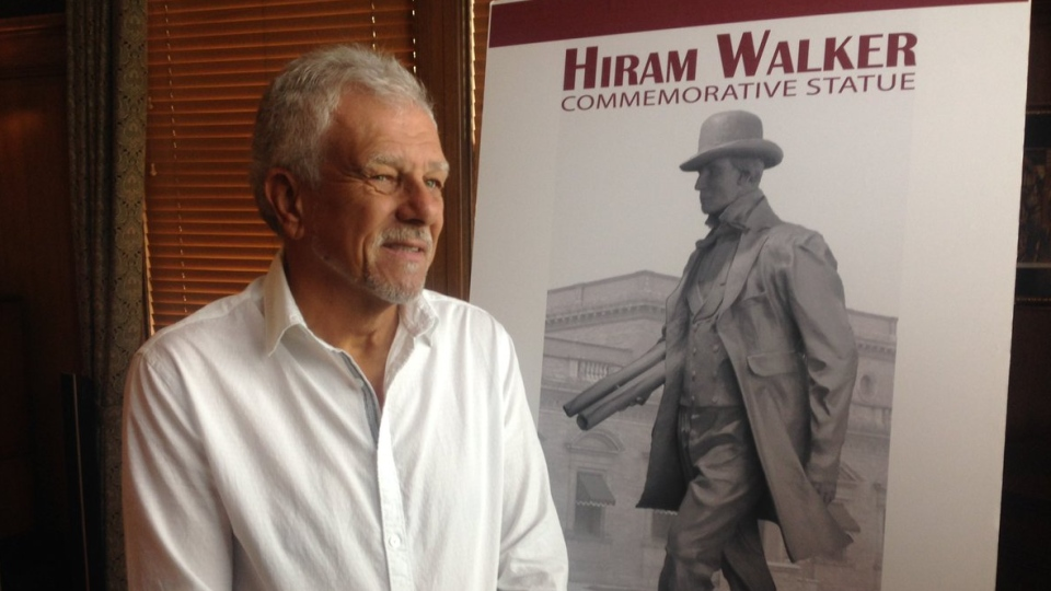 Mark Williams, the artists creating the Hiram Walker statue, poses with a rendering on Aug. 11, 2017 (Bob Bellacicco/CTV Windsor)
