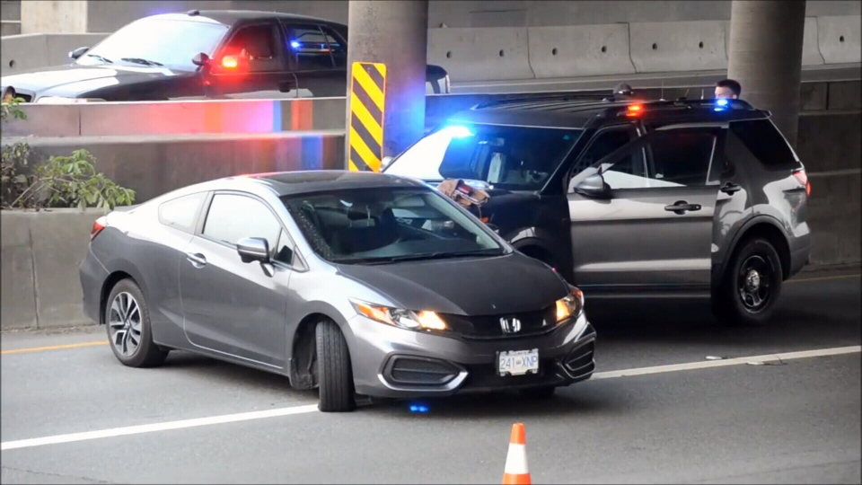 The speeding wrong way driver finally stopped when her car spun and collided with a police vehicle. (CTV)