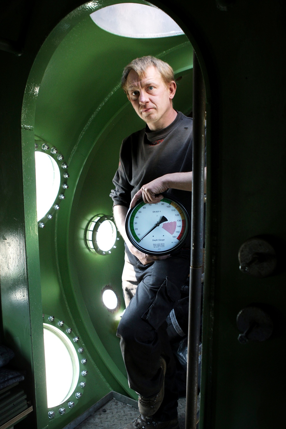 This is a April 30, 2008 file photo of submarine owner Peter Madsen inside his vessel . (Niels Hougaard/Ritzau. File via AP)