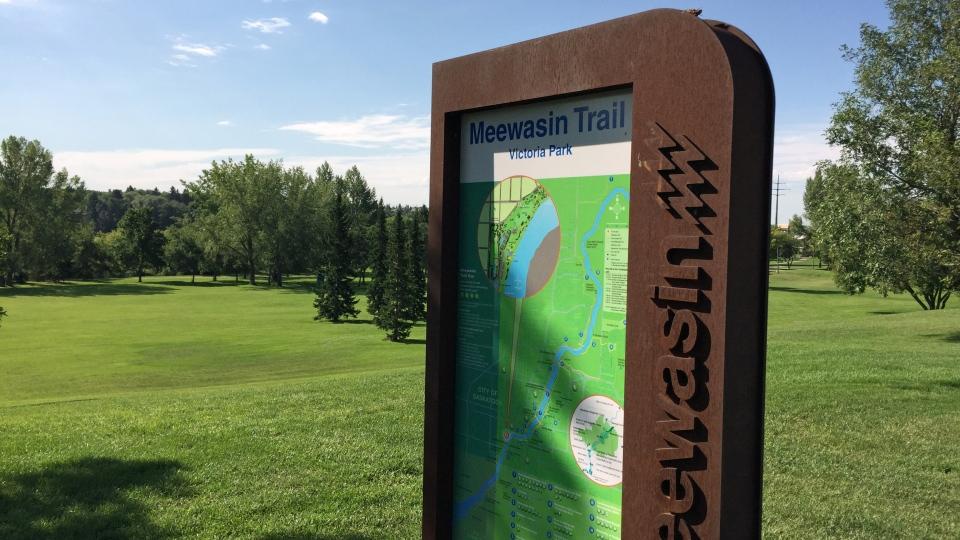 A sign marking Victoria Park and Meewasin Trail is shown here in Saskatoon. (Mark Villani/CTV Saskatoon)