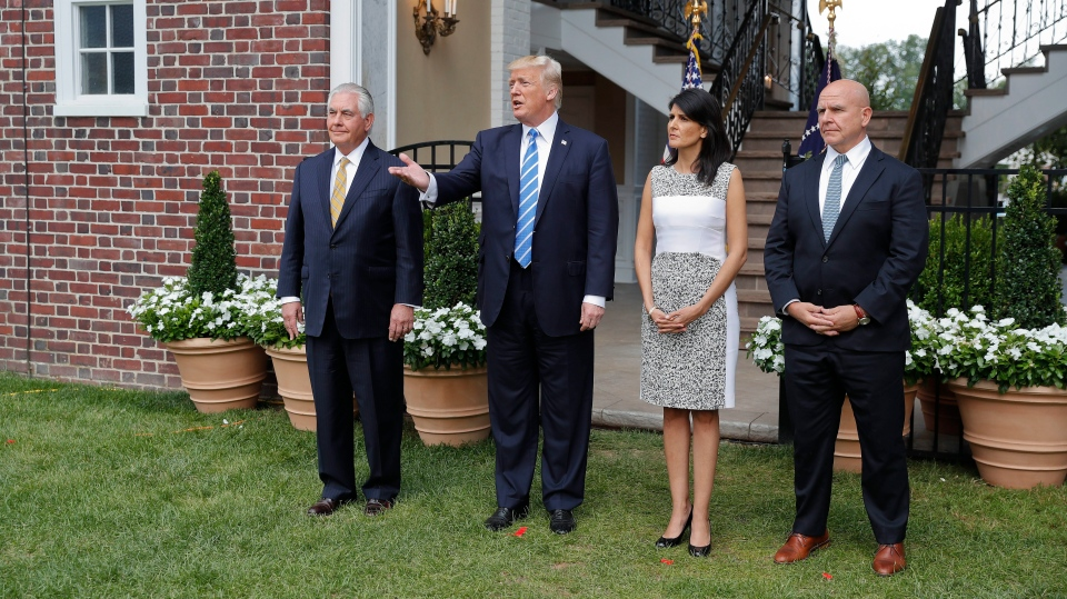 U.S. President Donald Trump speaks as Secretary of State Rex Tillerson, U.S. Ambassador to the United Nations Nikki Haley and national security adviser H.R. McMaster listen at Trump National Golf Club in Bedminster, N.J., Friday, Aug. 11, 2017. (AP / Pablo Martinez Monsivais)