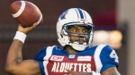 Montreal Alouettes quarterback Darian Durant throws a pass while playing the Toronto Argonauts in Montreal, Friday, August 11, 2017. THE CANADIAN PRESS/Graham Hughes